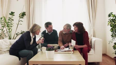 white shirt : Two senior couples looking at photographs at home. Stock Footage