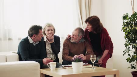 şarap : Two senior couples looking at photographs at home. Stok Video