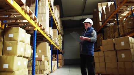 vest : Portrait of a senior male warehouse worker or a supervisor. Stock Footage