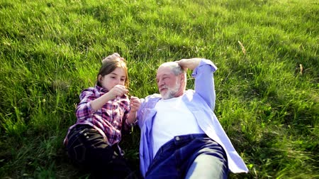 grandad : Senior grandfather with granddaughter outside in spring nature, relaxing on the grass.