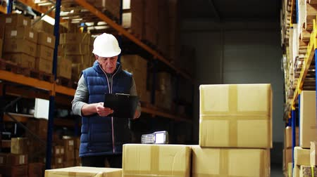 отправка : Portrait of a senior male warehouse worker or a supervisor controlling stock.