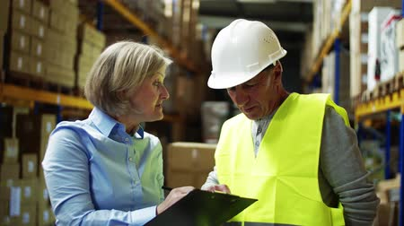 отправка : Senior woman manager talking to man worker in a warehouse.