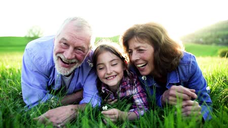 grandad : Senior couple with granddaughter outside in spring nature, relaxing on the grass.