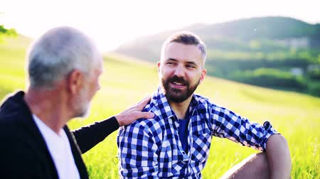 checked pattern : An adult hipster son and senior father sitting on the grass in nature, talking. Stock Footage