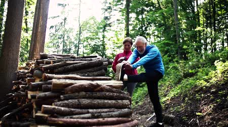 measuring : Senior sporty couple stretching in the forest outdoors in sunny nature.