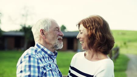 hajló : A senior couple in love standing outdoors in nature, talking.