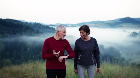 dinlendirici : Senior couple runners walking on grassland outdoor in foggy morning in nature. Stok Video