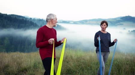 direnç : Senior couple doing exercise with rubber bands on meadow in foggy morning in nature. Stok Video