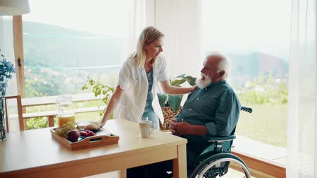 посетитель : Health visitor and a senior man during home visit. Стоковые видеозаписи
