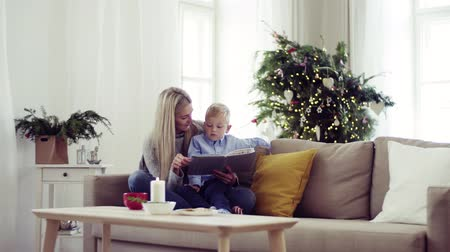 stories : A mother and small boy sitting on a sofa at home at Christmas time, reading a book.