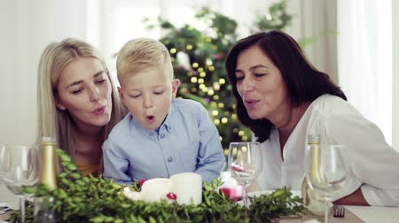 святки : A small boy with mother and grandmother at home at Christmas time, blowing out candles. Стоковые видеозаписи
