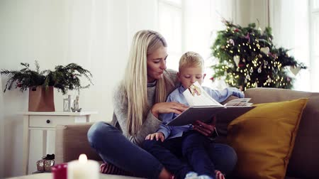 christmas tree with lights : A mother and small boy sitting on a sofa at home at Christmas time, reading a book.