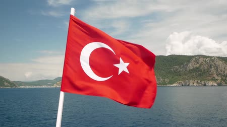 Turkish flag flies in the wind Stock Footage
