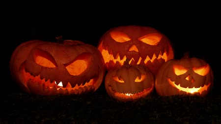 A Group Of Scary Pumpkins. Creepy, plane.