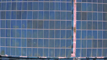 tracking : aerial view of photovoltaic panels on industry