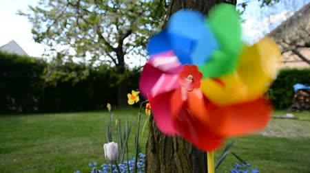 цветной : Decorative swirling colorful pinwheel in the flowerbed in garden. Behind the pinwheel is a tree and a large garden.
