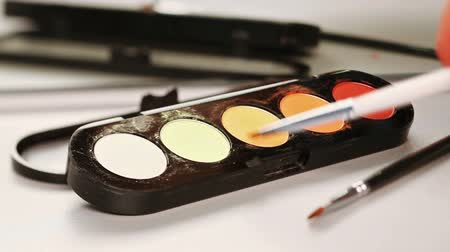 kadınlık : Makeup brush moving over multicolor eye shadows palette