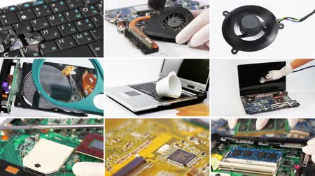 ремонтировать : Collage of computer (laptop) hardware and components