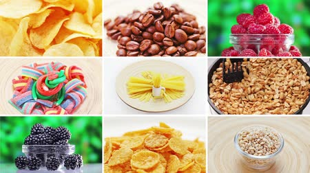 colorful candy : Collage (montage) of many food ingredients rotating