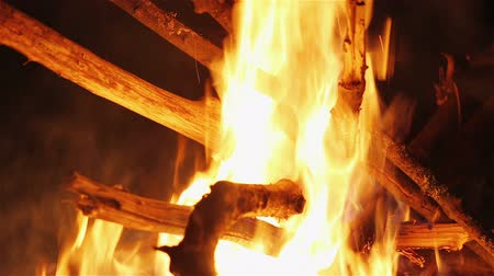 bewitch : Charming bonfire flame blazing in the night, closeup view Stock Footage