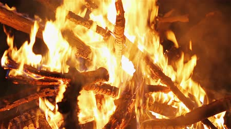 bewitch : Charming bonfire flame blazing in the night, zoom-out camera motion Stock Footage