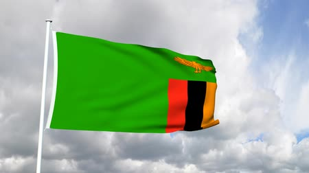 zambia : Flag of Zambia Stock Footage