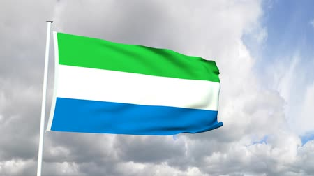 sierra leone flag : Flag of Sierra Leone Stock Footage
