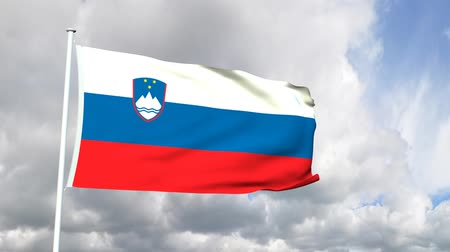 slovenya : Flag of Slovenia Stok Video