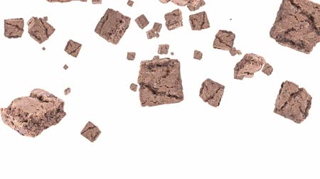 desszertek : Brownies falling down on white background