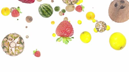 citrom és narancsfélék : Mixed fruits falling down on white background