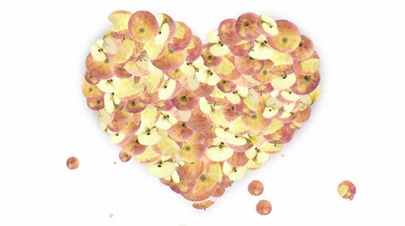 zöldségek : Falling apple pieces shaping a heart