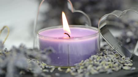 herbal : Candle with the breath of Lavender and some dried lavender plants
