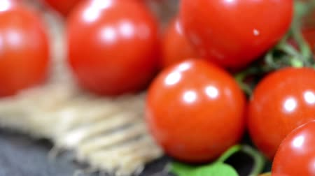 cherry domates : Portion of fresh rotating Cherry Tomatoes (not seamless loopable)