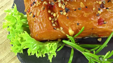 delicious : Rotating Smoked Salmon (not loopable) Stock Footage