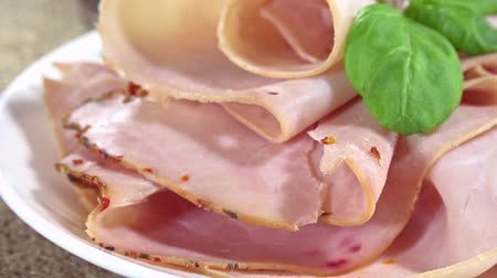 бекон : Rotating boiled Ham loopable Стоковые видеозаписи