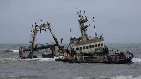 namibya : Skeleton Coast Ship Wreck Namibia at a stormy grey day
