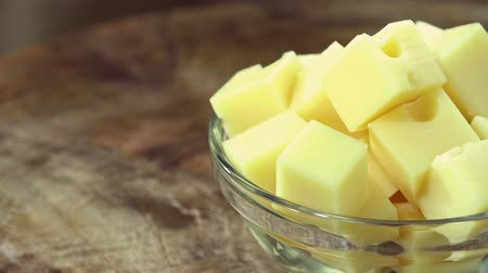 pieces of cheese : Emmental Cheese not loopable Stock Footage