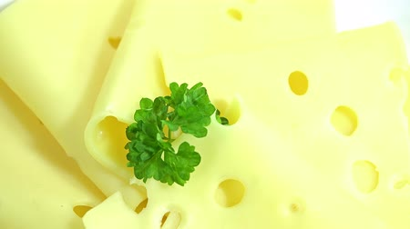 emmental : Emmental Cheese Slices not loopabole 4K footage Stock Footage