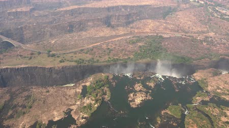 zambia : Victoria Falls (and Zambezi River) as 4K aerial footage (made from a helicopter)