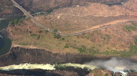 zimbabwe : Victoria Falls (and Zambezi River) as 4K aerial footage (made from a helicopter)