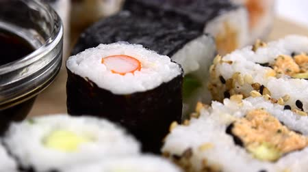 にぎり : Sushi (with Soy Sauce) as seamless loopable rotating 4K UHD footage