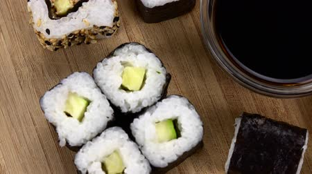 california rolls : Mixed Sushi as seamless loopable 4K footage
