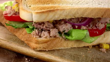 mayonaise : Tuna Sandwich as not loopable roating 4K UHD footage