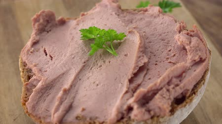 meat rolls : German Liverwurst as not loopable roating 4K UHD footage Stock Footage