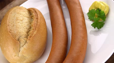 fumado : Wiener Sausages as not loopable roating 4K UHD footage Vídeos
