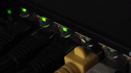 маршрутизатор : Network switch with blinking LEDs (4K footage) Стоковые видеозаписи