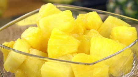 picado : Chopped Pineapple as seamless loopable 4K footage