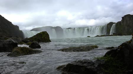 foss : Famous Godafoss waterfall in Iceland Stock Footage