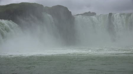 foss : Famous Godafoss waterfall in Iceland during summertime Stock Footage