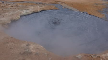 geiser : Hverir Geothermal Area in northern Iceland Stockvideo